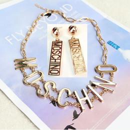 Mos fashion brand women necklace earrings set ladies full diamond T letter gold silver pendant earrings on Sale
