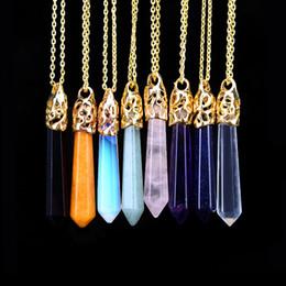 Rose Quartz Pendant Beads Australia - Necklace Gold Chain Steel Jewelry Natural Stone Pendants Statement Chokers Necklaces Amethyst Rose Quartz Bead Yoga Healing Crystals Necklac