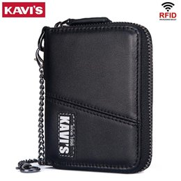 neoprene zipper bag NZ - Kavis Business 100% Genuine Leather Wallet Men Black Coin Purse Male Cuzdan Small Portomonee Zipper Mini Card Holder Money Bag Y19052104