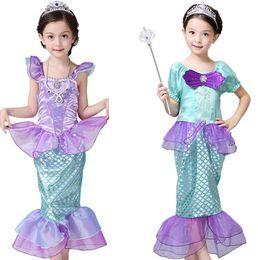 Wholesale mermaid costume girl online – ideas Girls Little Mermaid Princess Dress Cosplay Costumes For Kids Girl Mermaid Dress Children Halloween Clothing Mermaid dress stylesLJJK2027