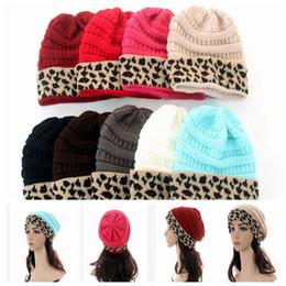58856c18 women winter hat knit leopard patchwork wool knitted Women Unisex Winter  Knitted Ski Fisherman Beanie Hat LJJK1717