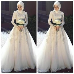 Discount simple unique wedding dress sleeves - 2019 Modest High Neck Long Sleeves Muslim Wedding Dresses Unique Design A-Line Lace Appliques Elegant Bridal Gowns Garde