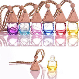 scent bottle pendant UK - Diamond Glass Perfume Bottle Pendant Car Hanging Perfume Bottles Air Freshener Carrier Essential Oil Hang Rope Bottle 6ml