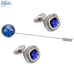 $enCountryForm.capitalKeyWord Australia - VAGULA Stylish Cufflink Brooch pin 3 Pcs Set Brass Cuff links collar pin Men Jewelry 723