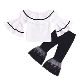Lotus embroidery online shopping - kids outfits clothes girls long flare sleeve lotus leaf collar cotton tshirt lace patchwork flare pant two piece summer set tracksuit
