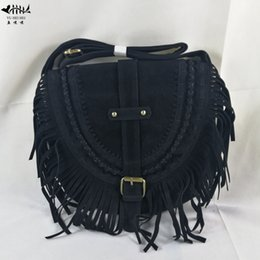 Cross Fringed Women Shoulder Crossbody Bag Messenger Bags Faux Suede Fringe  Tassel Boho Hippie Gypsy Bohemian Tribal Ibiza Style 41a473b2f48be