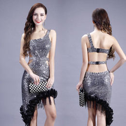 Wholesale silver sequin dance dress resale online - Sexy Latin Dance Dress Women Silver Sequin Tango Salsa Rumba Competition Dresses Ladies Samba Cha Cha Performance Clothes DC3625