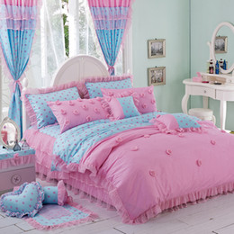 Pink Black Girls Bedding Australia - Romantic ruffle wedding bedding set girl twin full queen king size 100%cotton pink single bedclothes pillow shams quilt cover