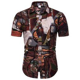 $enCountryForm.capitalKeyWord UK - Flower Social Shirt Men's Clothing Slim fit Linen Shirt for Man Short-sleeved Blouse Men Summer New Plus Size 4XL 5XL