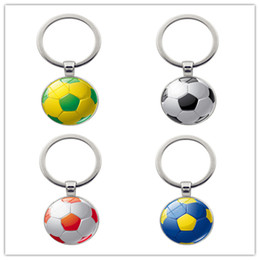 soccer rings Australia - Football keychain Soccer ball key rings Time Gem Stone key chain Creative manual accessories car 9 colors alloy key ring Free TNT Fedex