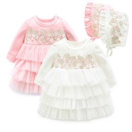 Girls Cupcake Australia - Newborn Baby Girl Dress Long Sleeve Lace Party Cupcake Dress Embroidery Infantn Baptism Dresses & Hats Baby Girl Clothing Set J190506