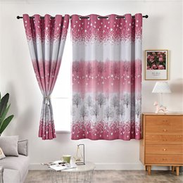 elegant living room curtains NZ - New Elegant Red Leaves Printing High- Shading Short Curtain for Living Dining Room Bedroom