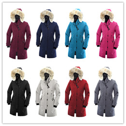 ladies down hooded parka Canada - top quality Winter ROSSCLAIR Parker Coat Outdoor Canada thick warm goose down jacket ladies long section Slim windproof hooded Down Parkas