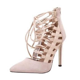stiletto shoes block heel 2019 - SAGACE Women High Heels High Block Heels Ankle Strappy Lace-UP Sandals Party Sandals Fashion Stiletto Ladies Shoe 903131