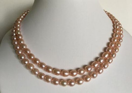 "cultures pearl Canada - Gorgeous Double Strand 32"" Cultured Freshwater 6-7 mm Pink Pearl Necklace"