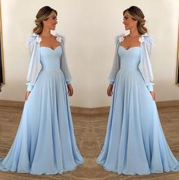 $enCountryForm.capitalKeyWord Australia - 2019 Light Sky Blue Elegant Evening Dresses Sweetheart Long Sleeves Handmade Flowers A Line Chiffon Cheap Special Occasion Dress Prom Dress