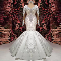 ruffled bottom dresses NZ - 2020 New Gorgeous Crystal Lace Applique Mermaid Wedding Dresses Long Sleeve V-Neck Ruffle Puffy Bottom Bridal Gown Sheer Back