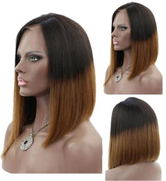 $enCountryForm.capitalKeyWord NZ - Celebrity wigs full lace wig bob style 12inch ombre 1b 30 bob wig layer virgin chinese human hair lace frontal wig free shipping