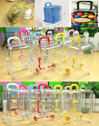clear acrylic gift box wholesale NZ - Mini Rolling Travel Suitcase Candy Box Baby Shower Wedding Favors Acrylic Clear Party Table Decoration Supplies Gifts DA286