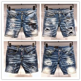 1a15329366 Italian fashion design D2 men rip torn riding denim shorts slim monogrammed  black motorcycle jeans hot pants style personality old jeans