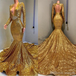 long prom dresses stones UK - 2019 Gold Sparkling Long Sleeves Sequins Mermaid Prom Dresses Deep V Neck Beaded Stones Backless Sweep Train Party Evening Gowns