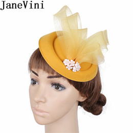 c34d92214914c Navy Fascinator Australia - JaneVini Western Style Yellow Wedding Hats for  Women Elegant Fascinators Navy Beaded Find Similar