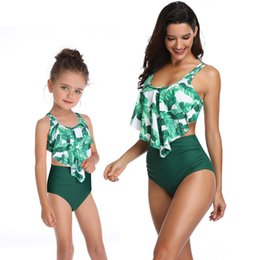 146c6c8d39604 Fashion Mother Daughter Swimsuit High Waist Flounced Bikinis Family  Matching Outfits Mommy and Me Swimwear Mom Baby Girl Sisters Clothes