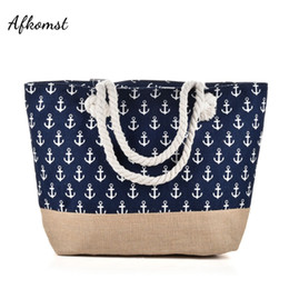 anchor handbags Australia - New Anchor Beach Bag Light type Canvas Zipper Woman Handbag Ladies Sea Travel Bag Casual Totes Shoulder Bags Tote QQ2144