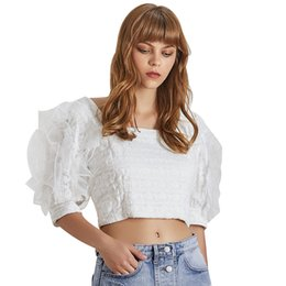 9835533204a ElEgant crop tops online shopping - Elegant Mesh Patchwork Women Blouse  Square Collar Puff Sleeve Ruffles