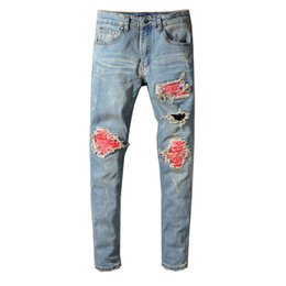 $enCountryForm.capitalKeyWord NZ - Fashion mens Robins Jeans Red Ripped Patches biker jeans for men famous brand men tide pants Slim stretch robined More style jeans pants
