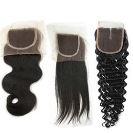 $enCountryForm.capitalKeyWord Australia - Cheap Free Part Lace Closure Body Wave 4x4 Virgin Malaysian Human Hair Pieces Online Shop Middle Part Top Closures Bleached Knots Dyeable