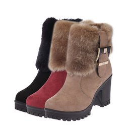 female boot sole Australia - Hot Sale-new Martin boots female fur one side zipper high-end plus velvet female warm and comfortable thick-soled high-heeled boots women