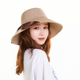 d475ff390553e DeePom Summer Hats For Women Lady Big Wide Brim Bucket Hat With Ribbon Sun Hat  Female Solid Color Casual Black Panama Cap Flat