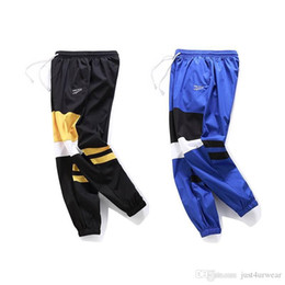 Wholesale mens dancing trousers resale online – Mens Loose Hip Hop Cargo Sweatpants Contrast Color Streetwear Long Pants Dancing Casual Pants Male Long Trousers