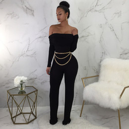 a16f8261e7d2 Slash Neck Sexy Straight Jumpsuit 2019 Off Shoulder Long Sleeve Solid Romper  Spring Party Overall With Sash For Women