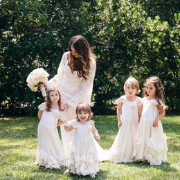 Wholesale girls black dress shorts for sale - Group buy Lovely Boho Flower Girl Dresses Weddings Lace Cap Sleeves Layered Ruffles Kids Pageant First Communion Gowns Cheap Custom Made