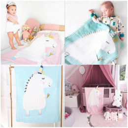 Infant Knits Australia - Infant Newborn Baby Blanket Cartoon New Toddler Pram Cot Bed Moses Basket Crib Unicorn Knit Blanket Cartoon Sleeping Bag