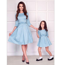 mothers daughters dresses Australia - mom and daughter matching clothes bows half sleeve mother baby dresses mommy me outfits for girls mama family look dress