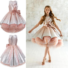 Green prom paGeant dresses online shopping - Shiny Sequins Flower Girls Dresses Sleeveless Tulle Tiered TuTu Girls Pageant Gowns Gorgeous Puffy Prom Dresses