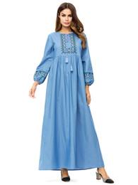 e97ac966cce Denim Dress Woman 2019 Flowers Embroidery Long Sleeve Jeans Dresses Islamic Clothing  Plus Size 4XL Fashion Muslim Arab Robe