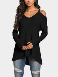 $enCountryForm.capitalKeyWord Australia - Leisure Fashion Sexy Shoulder-exposed V-neck T-shirt jacket with bottom shirt in Europe and America hot selling Hoodies