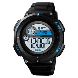 Men Digital Wrist Watches NZ - SKMEI Waterproof Watch Man Sport Digital Date Week Display Man Wrist Watches 2time Count Down Alarm Clock EL Relojes Para Hombre