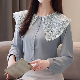Spring 2019 new Autumn white-collar women's shirts long-sleeved lace hollow out splice blouses shirt chiffon women tops 880B3