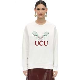 embroideries sweatshirts UK - 19FW Badminton Tennis Racket Embroidery Crewneck Sweatshirt Letter Logo Embroidery Couple Long Sleeve Beige Casual Sweatshirt HFLSWY324
