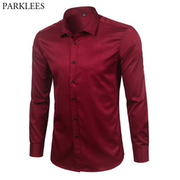 $enCountryForm.capitalKeyWord NZ - Brand Wine Red Bamboo Fiber Mens Dress Shirts Slim Fit Long Sleeve Chemise Homme Casual Button Down Elastic Formal Male Shirt T2190608