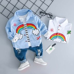 1356cdcf92936 New Autumn baby boy clothes Fashion Boys Clothing Sets Toddler Rainbow Shirt  Holes Jeans Boy Suit Boutique Children Outfit Infant set A1866