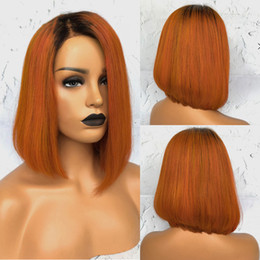 Wig Sexy Black Bob Australia - New Sexy Straight Two Tones Black to Orange Short Bob Style Side Parting Heat Resistant Cosplay Glueless Synthetic Lace Front Wigs for Women