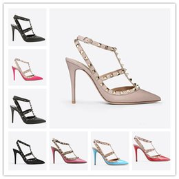 a2d43c6aba women high heels dress shoes party fashion rivets girls sexy pointed toe  shoes buckle platform pumps wedding shoes black white pink color7