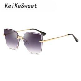 ff40fa1f51d KeiKeSweet Top Fashion Vintage Brand Designer Sunglasses Women Rimless Mirror  Rays UV400 Hot New Lady Sun Glasses Luxury Retro