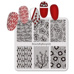 $enCountryForm.capitalKeyWord Australia - BEAUTYBIGBANG 6*6cm Square Nail Stamping Plates Lace Flower Pattern Nail Art Stamp Stamping Template Image Plate Stencils